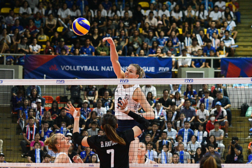 BANGKOK, THAILAND - MONTH 31: Lauren Gibbemeyer of USA spiking against Team Thailand during the FIVB Volleyball Nation League 2018, Indoor Stadium Huamark, Bangkok, Thailand on May 31, 2018. 