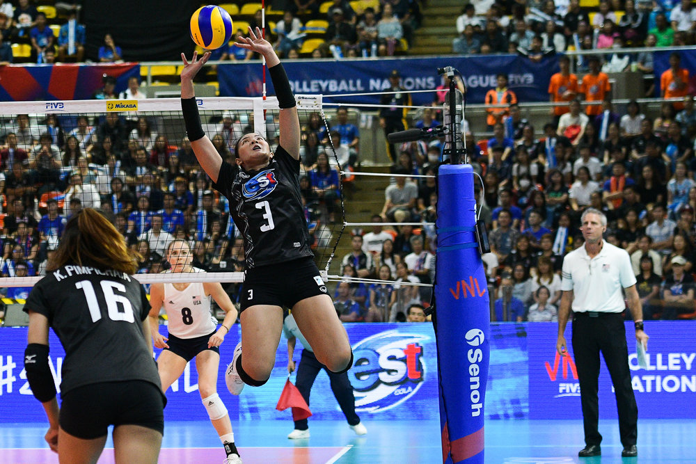 BANGKOK, THAILAND - MONTH 31: Pornpun Guedpard of Thailand in action against Team USA during the FIVB Volleyball Nation League 2018, Indoor Stadium Huamark, Bangkok, Thailand on May 31, 2018. 
