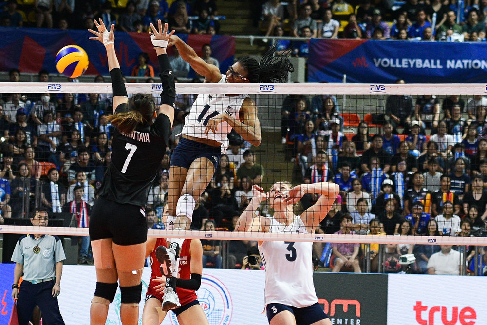 BANGKOK, THAILAND - MONTH 31: Foluke Akinradewo of USA spiking against Team Thailand during the FIVB Volleyball Nation League 2018, Indoor Stadium Huamark, Bangkok, Thailand on May 31, 2018. 