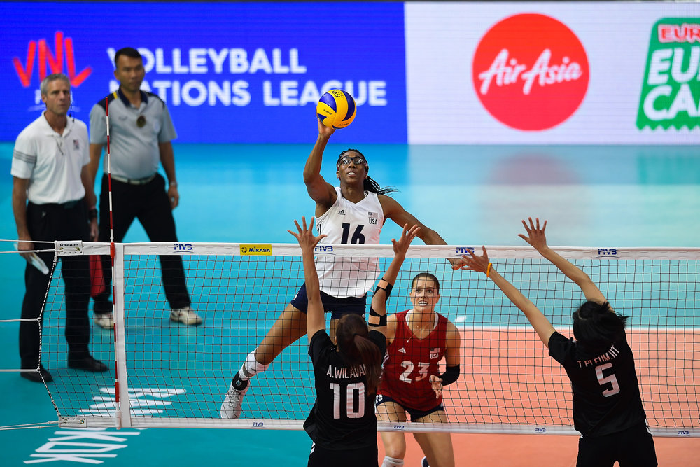 BANGKOK, THAILAND - MONTH 31: Foluke Akinradewo of USA in action against Team Thailand during the FIVB Volleyball Nation League 2018, Indoor Stadium Huamark, Bangkok, Thailand on May 31, 2018. 