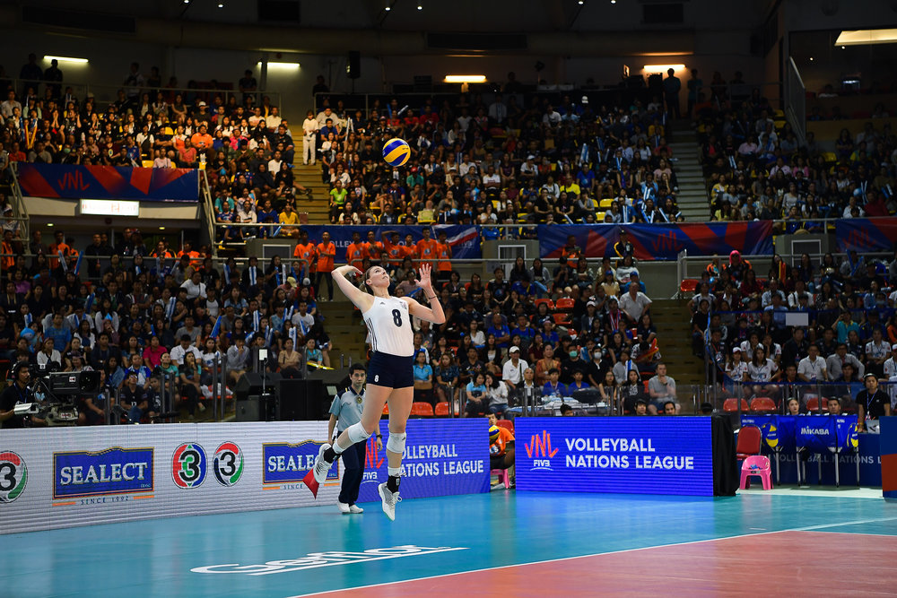 BANGKOK, THAILAND - MONTH 31: Lauren Gibbemeyer of USA serving against Team Thailand during the FIVB Volleyball Nation League 2018, Indoor Stadium Huamark, Bangkok, Thailand on May 31, 2018. 