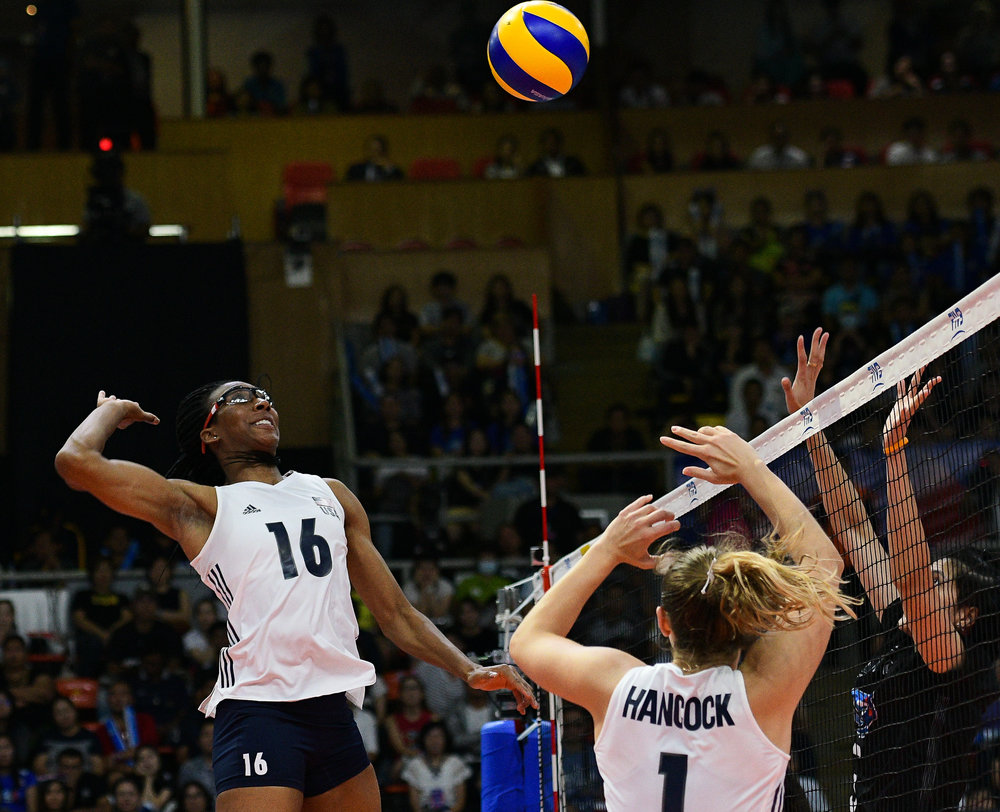 BANGKOK, THAILAND - MONTH 31: Foluke Akinradewo of USA going for a spike against Team Thailand during the FIVB Volleyball Nation League 2018, Indoor Stadium Huamark, Bangkok, Thailand on May 31, 2018. 