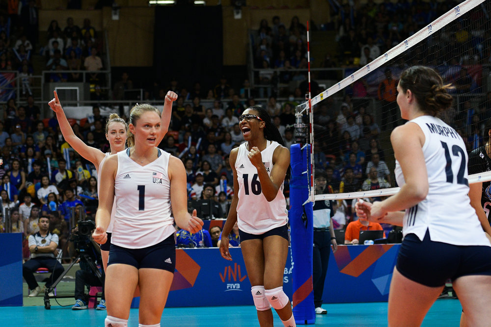 BANGKOK, THAILAND - MONTH 31: Team USA reaction during their match against Thailand at the FIVB Volleyball Nation League 2018, Indoor Stadium Huamark, Bangkok, Thailand on May 31, 2018. 