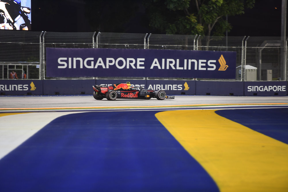 SINGAPORE - SEPTEMBER 14: Max Verstappen (33) of Aston Red Bull Racing in Turn 2 during the F1 Singapore Airlines - Singapore Grand Prix 2018, Marina Bay Street Circuit, Singapore on September 14, 2018. 