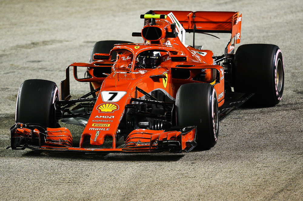 SINGAPORE - SEPTEMBER 14: Kimi Räikkönen of Scuderia Ferrari entering Turn 3 during the Full Practice 2 at the F1 Singapore Airlines - Singapore Grand Prix 2018, Marina Bay Street Circuit, Singapore on September 14, 2018. 