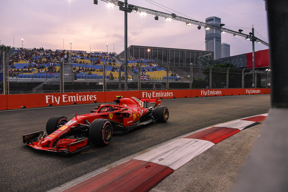 SINGAPORE - SEPTEMBER 15: Kimi R�ikk�nen (7) of Scuderia Ferrari in Turn 17 during FP3 at the F1 Singapore Airlines - Singapore Grand Prix 2018, Marina Bay Street Circuit, Singapore on September 15, 2018. 