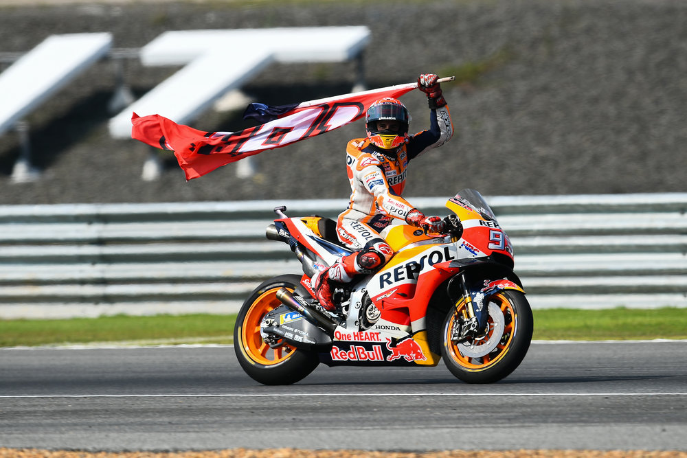 THAILAND - OCTOBER 07: Marc Marquez (93) of Spain and Repsol Honda Team victory lap at the Inaugural MotoGP PTT Thailand Grand Prix 2018, Chang International Circuit, Thailand on October 07, 2018. 