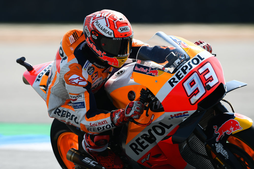 THAILAND - OCTOBER 05: Marc Marquez (93) of Spain and Repsol Honda Team in Turn 7 during FP2 at the MotoGP PTT Thailand Grand Prix 2018, Chang International Circuit, Thailand on October 05, 2018. 