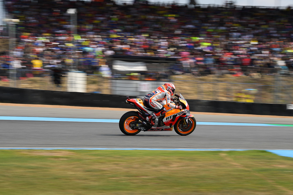 THAILAND - OCTOBER 07: Marc Marquez (93) of Spain and Repsol Honda Team passing the side grandstand during the MotoGP PTT Thailand Grand Prix 2018, Chang International Circuit, Thailand on October 07, 2018. 