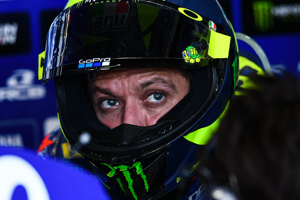 THAILAND - OCTOBER 05: Valentino Rossi (46) of Italy and Movistar Yamaha MotoGP in the pit during FP1 at the MotoGP PTT Thailand Grand Prix 2018, Chang International Circuit, Thailand on October 05, 2018. 
