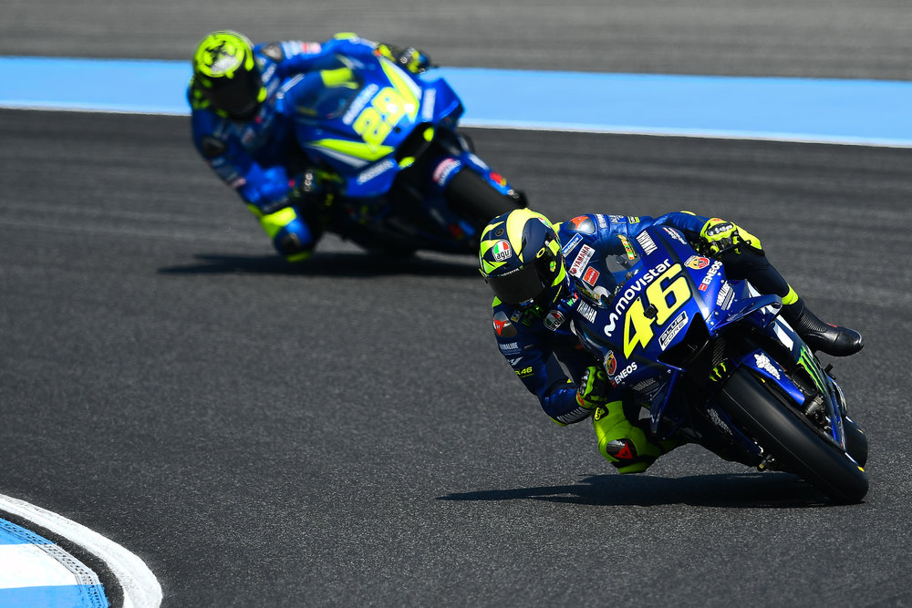 THAILAND - OCTOBER 06: Valentino Rossi (46) of Italy and Movistar Yamaha MotoGP in Turn 3 during FP3 at the MotoGP PTT Thailand Grand Prix 2018, Chang International Circuit, Thailand on October 06, 2018. 