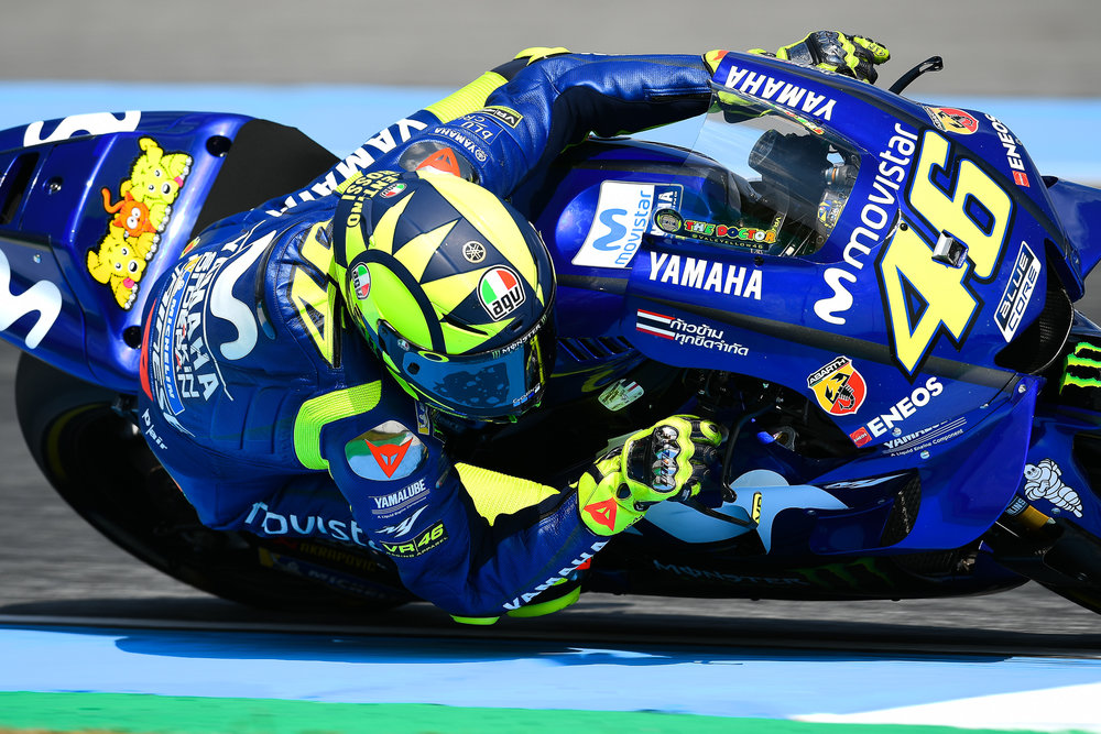 THAILAND - OCTOBER 06: Valentino Rossi (46) of Italy and Movistar Yamaha MotoGP in action during FP4 at the MotoGP PTT Thailand Grand Prix 2018, Chang International Circuit, Thailand on October 06, 2018. 