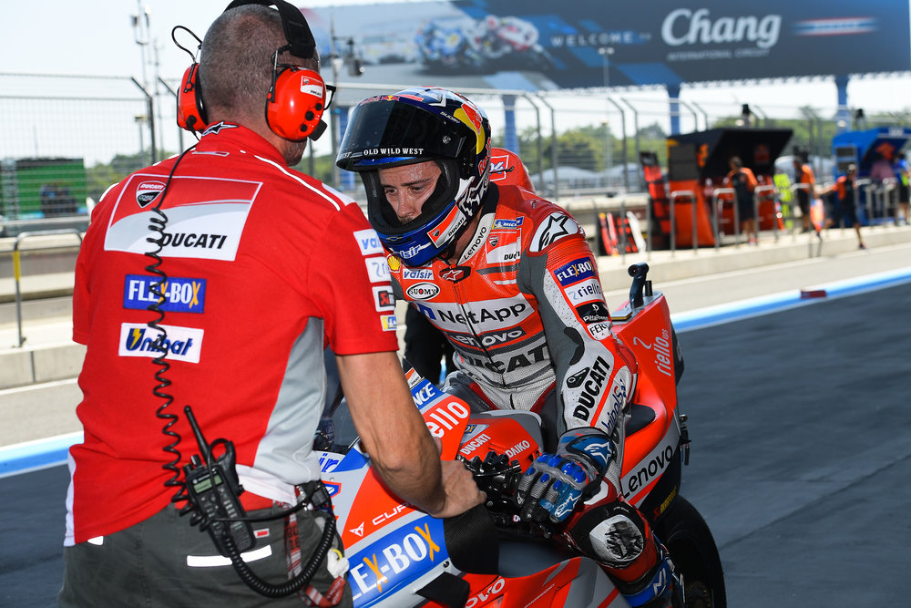 THAILAND - OCTOBER 05: Andrea Dovizioso (4) of Italy and Ducati Team on pit lane during FP1 at the MotoGP PTT Thailand Grand Prix 2018, Chang International Circuit, Thailand on October 05, 2018. 