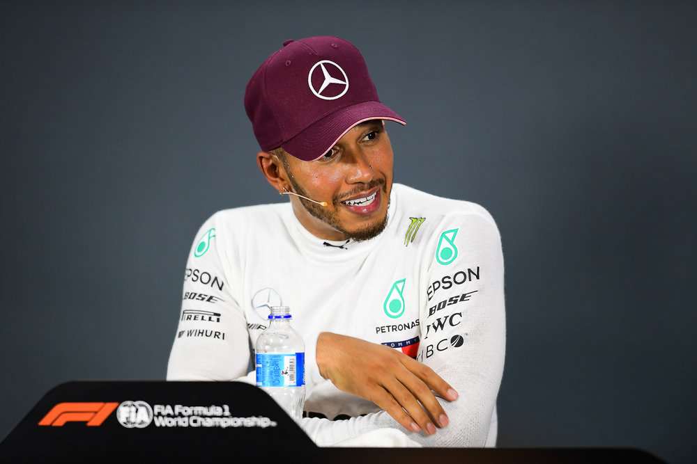 SINGAPORE - SEPTEMBER 16: Lewis Hamilton (44) of Mercedes AMG Petronas Motorsport during the Driver Press Conference at the F1 Singapore Airlines - Singapore Grand Prix 2018, Marina Bay Street Circuit, Singapore on September 16, 2018. 