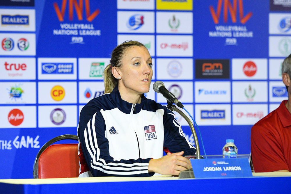 BANGKOK, THAILAND - MONTH 30: Jordan Larson (c) of USA post match press conference at the FIVB Volleyball Nation League 2018, Indoor Stadium Huamark, Bangkok, Thailand on May 30, 2018. 