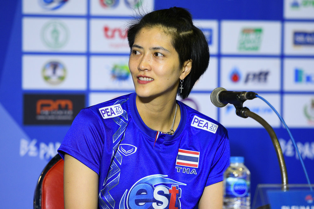 BANGKOK, THAILAND - MONTH 30: Pleumjit Thinkaow (c) of Thailand post match press conference at the FIVB Volleyball Nation League 2018, Indoor Stadium Huamark, Bangkok, Thailand on May 30, 2018. 
