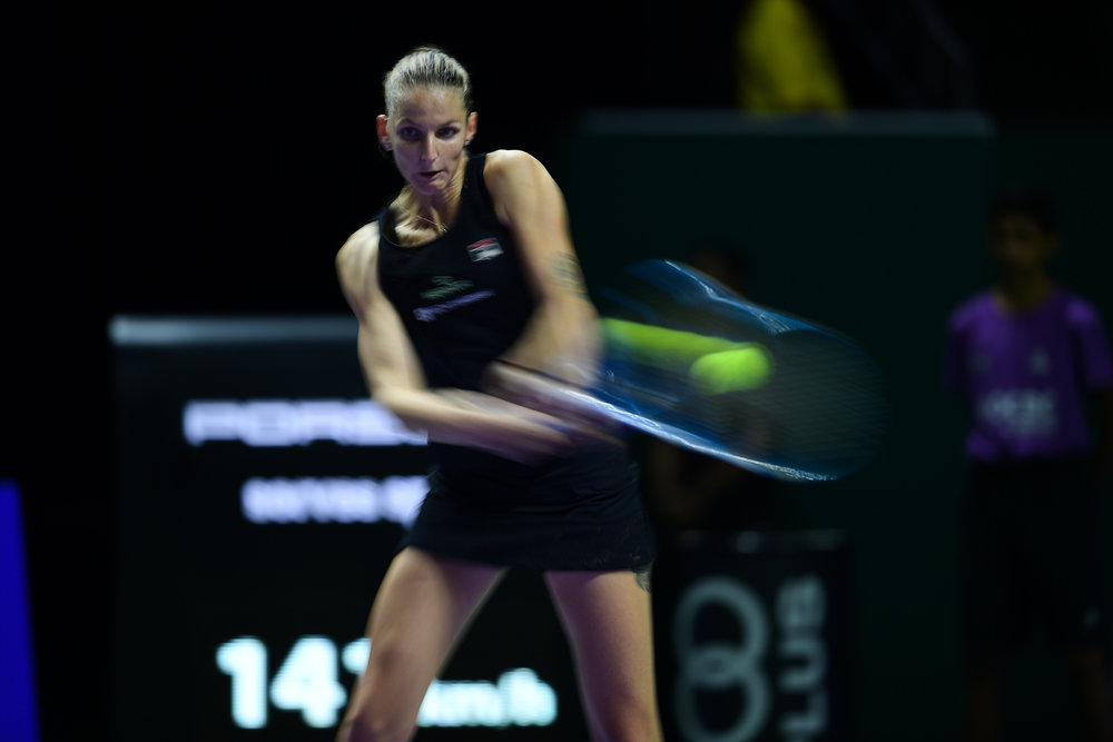 SINGAPORE - OCTOBER 27: Karolina Pliskova of Czech Republic in action during her semi-finals match against Sloane Stephens of USA on Day 7 of the 2018 BNP Paribas WTA Finals Singapore presented by SC Global, Singapore Indoor Stadium, , Singapore on October 27, 2018. 