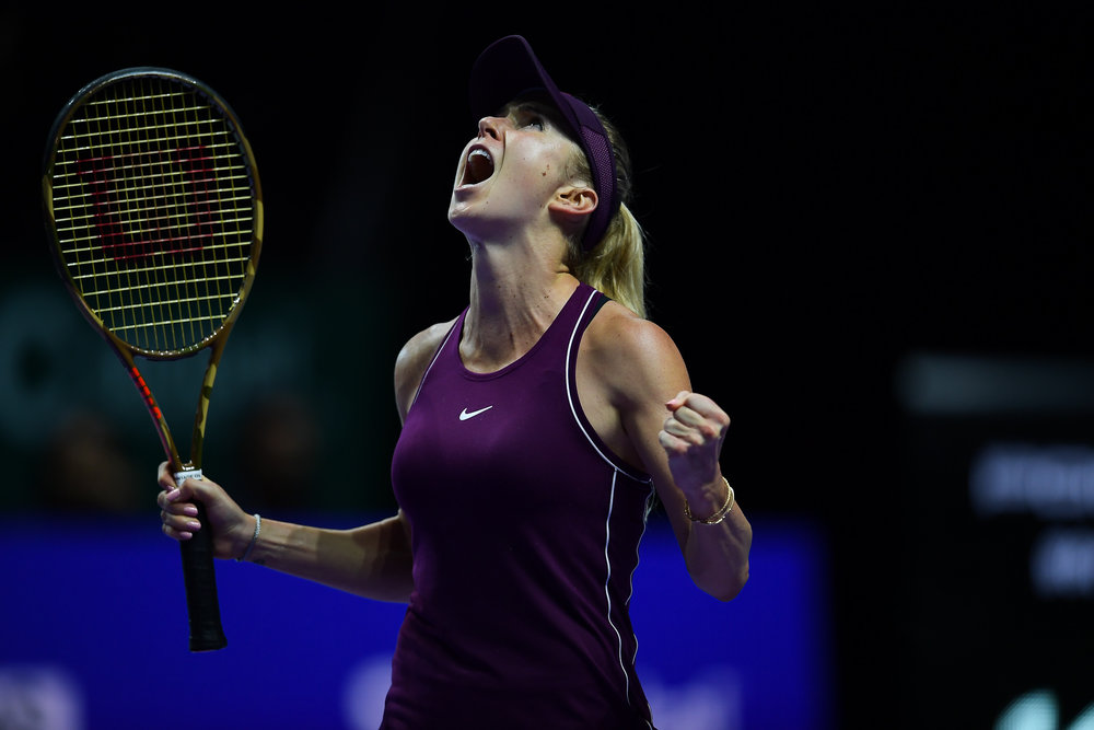 SINGAPORE - OCTOBER 27: Elina Svitolina of Ukraine reaction after winning her semi-finals match against Kiki Bertens of Netherlands on Day 7 of the 2018 BNP Paribas WTA Finals Singapore presented by SC Global, Singapore Indoor Stadium, , Singapore on October 27, 2018. 