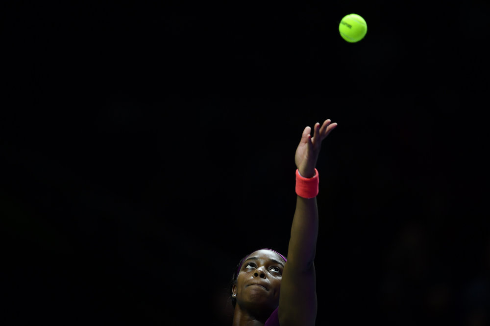 SINGAPORE - OCTOBER 28: Sloane Stephens of USA serving during her Singles Championship Match against Elina Svitolina of Ukraine on Day 8 of the 2018 BNP Paribas WTA Finals Singapore presented by SC Global, Singapore Indoor Stadium, , Singapore on October 28, 2018. 