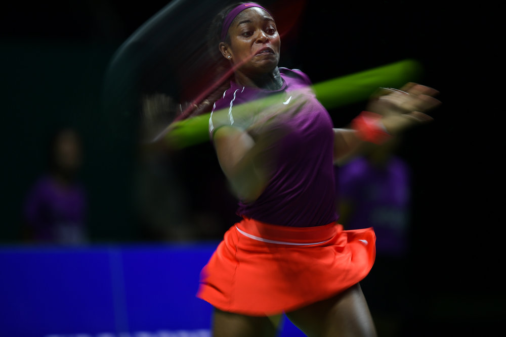 SINGAPORE - OCTOBER 28: Sloane Stephens of USA in action during her Singles Championship Match against Elina Svitolina of Ukraine on Day 8 of the 2018 BNP Paribas WTA Finals Singapore presented by SC Global, Singapore Indoor Stadium, , Singapore on October 28, 2018. 
