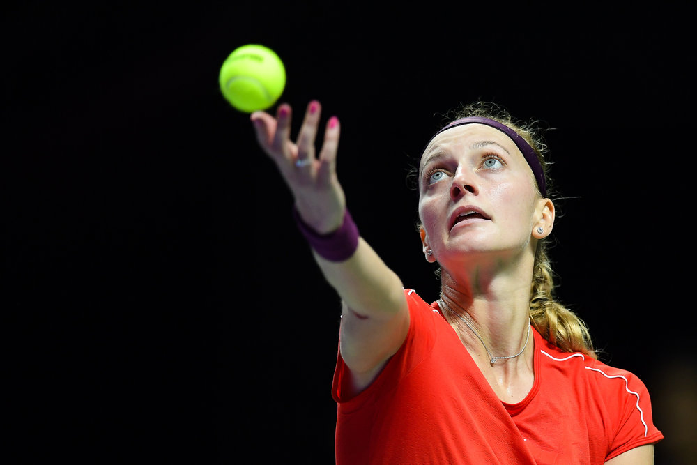 SINGAPORE - OCTOBER 25: Petra Kvitova of Czech Republic serving during her match against Karolina Pliskova of Czech Republic on Day 5 of the 2018 BNP Paribas WTA Finals Singapore presented by SC Global, Singapore Indoor Stadium, , Singapore on October 25, 2018. 