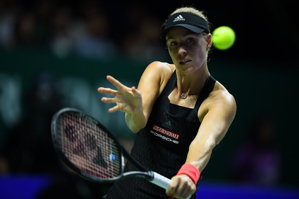 SINGAPORE - OCTOBER 26: Angelique Kerber of Germany in action during her match against Sloane Stephens of USA on Day 6 of the 2018 BNP Paribas WTA Finals Singapore presented by SC Global, Singapore Indoor Stadium, , Singapore on October 26, 2018. 
