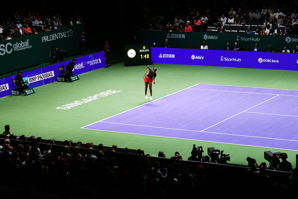 SINGAPORE - OCTOBER 26: Sloane Stephens of USA serving during her match against Angelique Kerber of Germany on Day 6 of the 2018 BNP Paribas WTA Finals Singapore presented by SC Global, Singapore Indoor Stadium, , Singapore on October 26, 2018. 