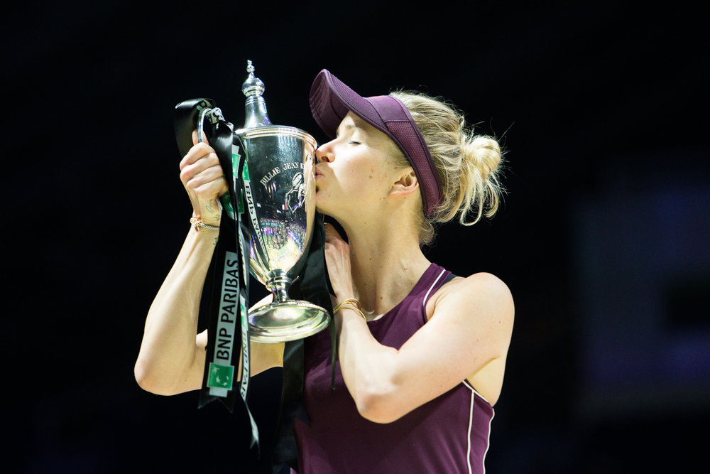 SINGAPORE - OCTOBER 28: Elina Svitolina of Ukraine kissing the Billie Jean King Trophy after winning her Singles Championship Match at the 2018 BNP Paribas WTA Finals Singapore presented by SC Global, Singapore Indoor Stadium, , Singapore on October 28, 2018. 