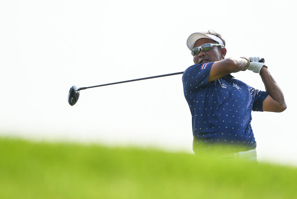 CHON BURI, THAILAND - DECEMBER 22: Thongchai Jaidee of Thailand teeing-off the 9th during the afternoon fourballs at the Amata Friendship Cup 2018, Amata Spring Country Club, Chon Buri, Thailand on December 22, 2018.  . . . (Photo by: Naratip Golf Srisupab/SEALs Sports Images) . Any image use must include a mandatory credit line adjacent to the content which should read: Naratip Golf Srisupab/SEALs Sports Images