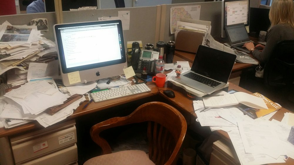 Desk of Jeff Kiger, Business journalist and blogger at the Post-Bulletin.