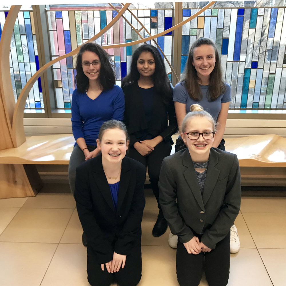 B.A.S.I.C. BALSA Team. Back row (from left to right): Simran Sandhu, Anjali Donthi, and Alexandra Bancos. Front row (from left to right): Audrey Whitney and Bailey Klote. Photo courtesy of Technovation[MN],