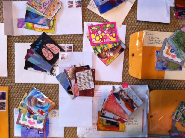 Cards on envelopes, ready to wrap up and send...