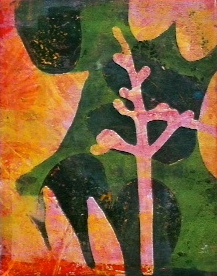 "Pink Stem, ©2014, 6"" x 7.5,"" monoprint"