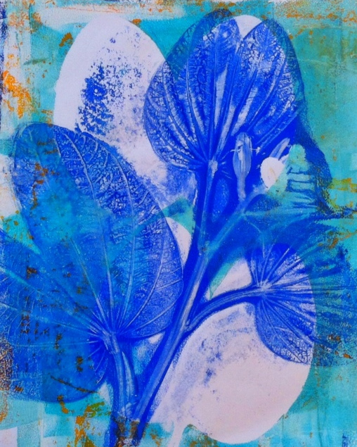 "Blue Leaves, ©2014, H. Hunter, 6"" x 7.5,"" monoprint"