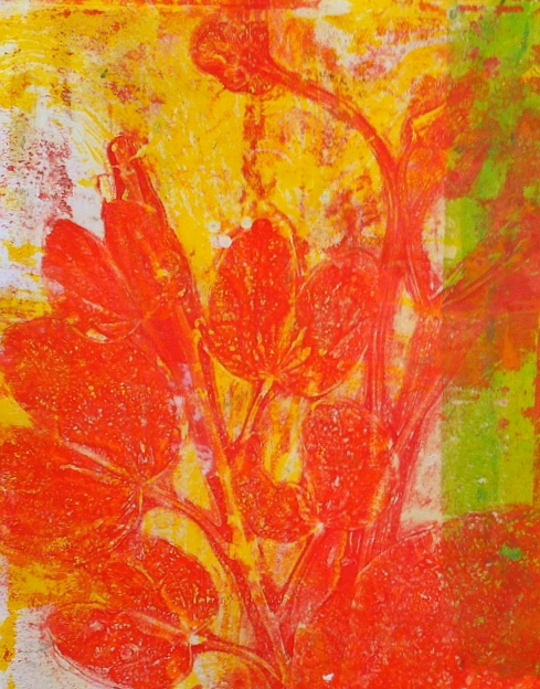 "Red Leaves on Yellow, ©2014, 6"" x 7.5,"" monoprint"
