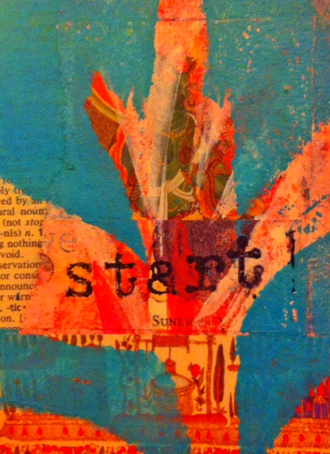 """Start,"" ©2014, 2.5"" x 3.5"", Collage and monoprint"