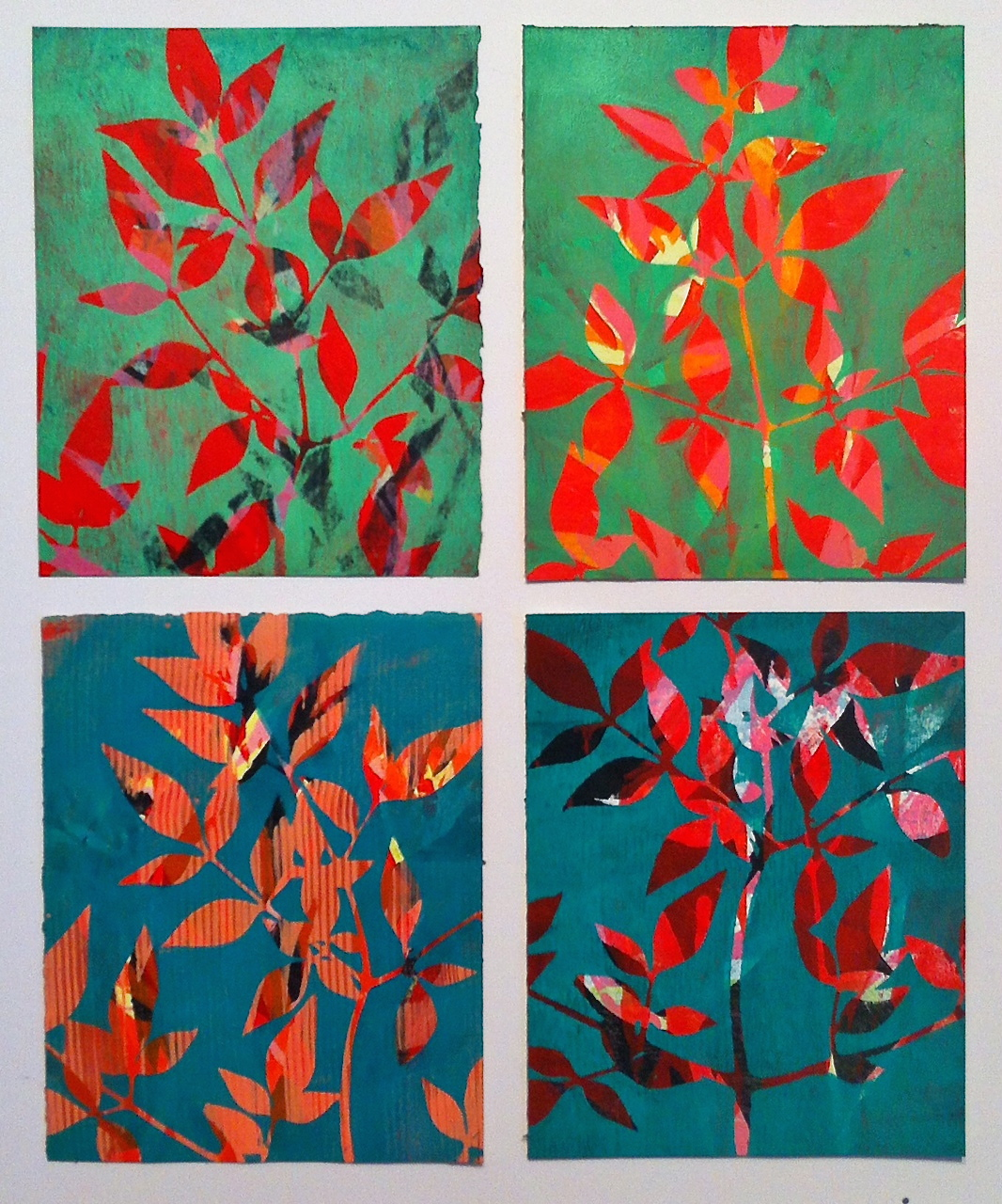 Monoprints based on recent journal ideas.