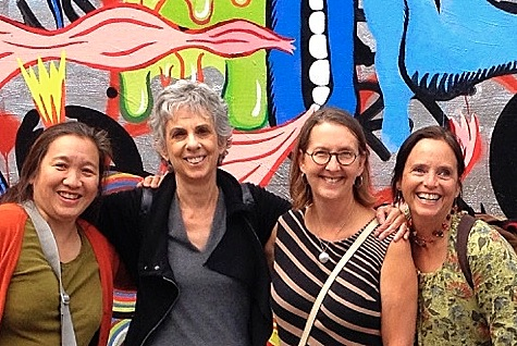 Clarion Alley, SF. From left, Monica Lee, myself, Linda Clark Johnson and Leslie Flores