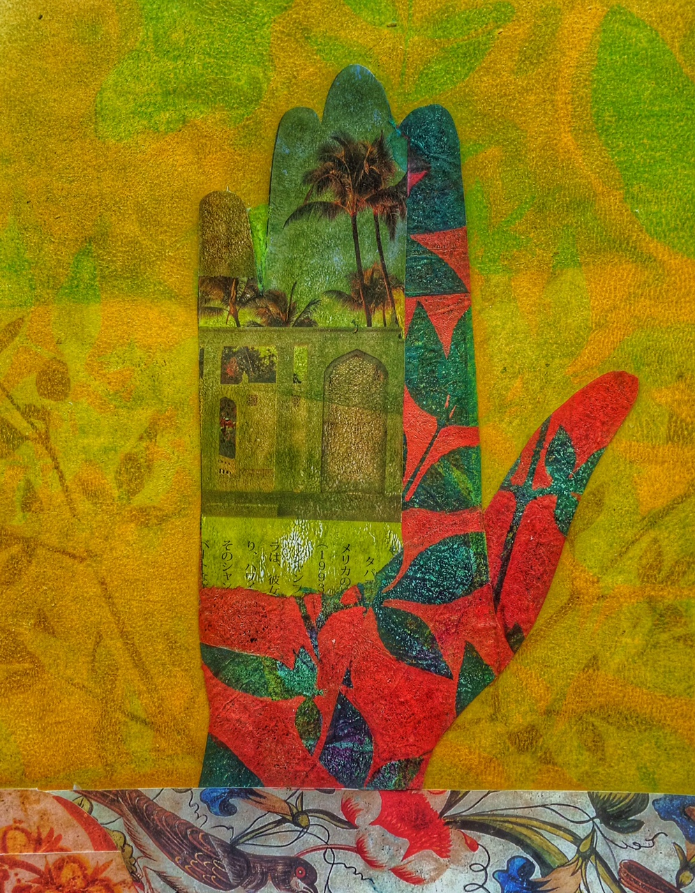 "Palm Reading 2, in process, ©2015, 8"" x 10,"" Collage on panel"