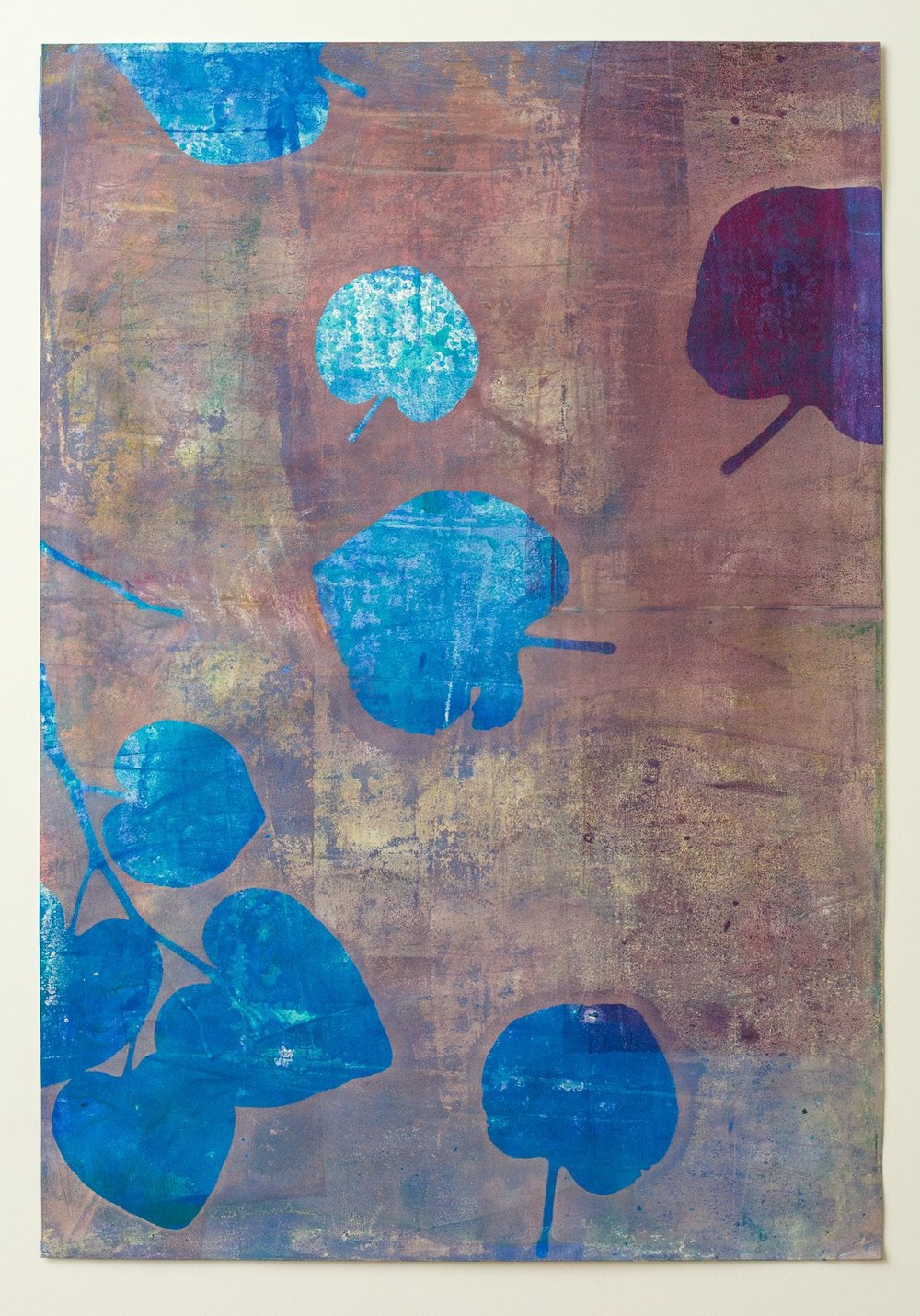 "After the Rain 2, 13"" x 19,"" Monoprint Collage"