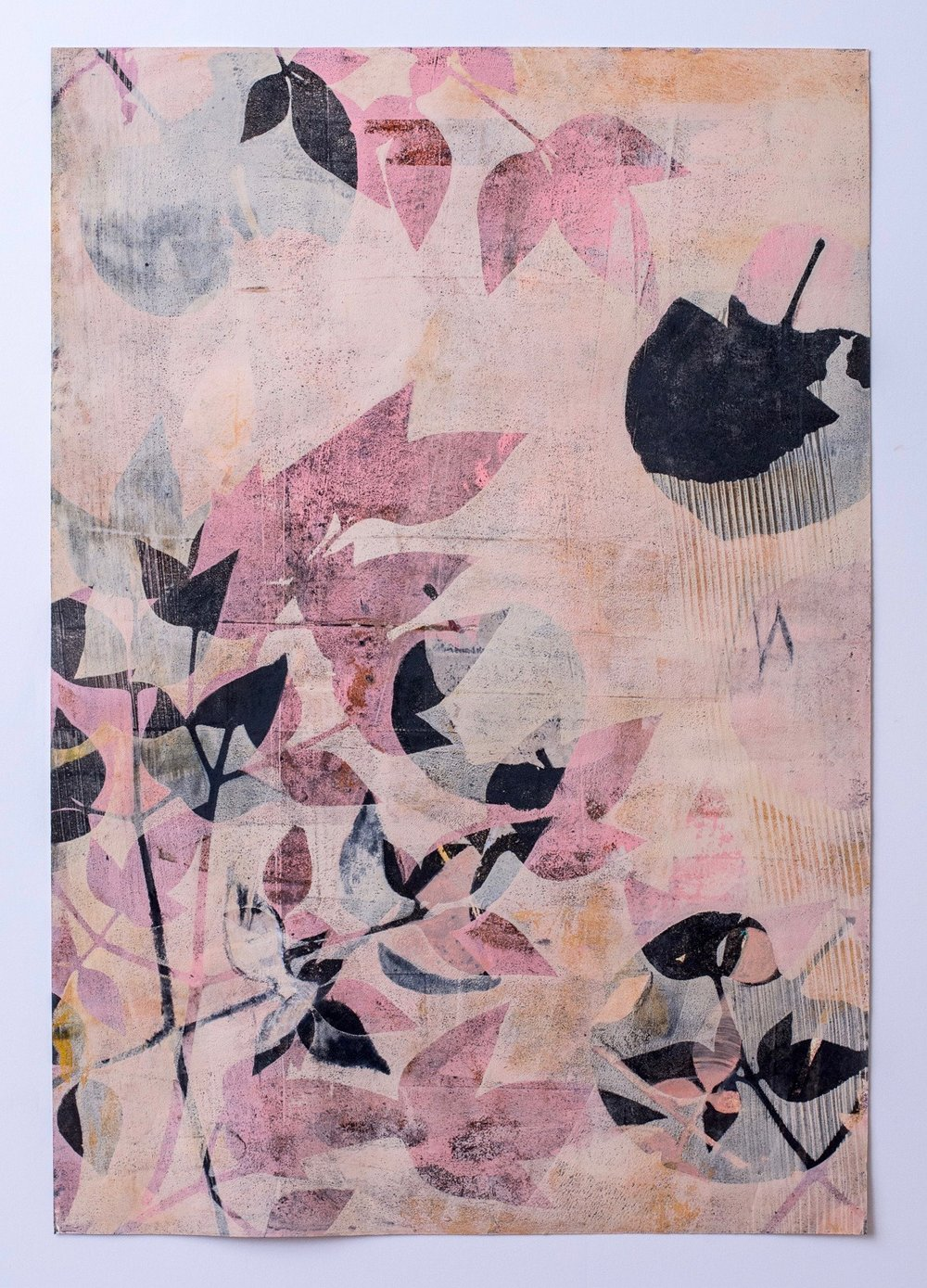 "Peach Nandina, 13"" x 19,"" Monoprint Collage"