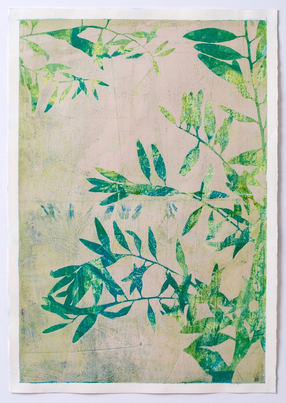 "Morning, 13"" x 19,"" Monoprint Collage"