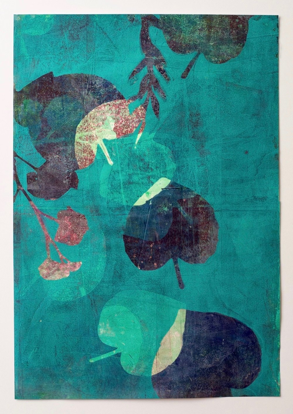"After the Rain 1, 13"" x 19,"" Monoprint Collage"