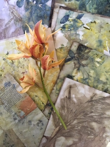 Examples of botanical eco printing on paper