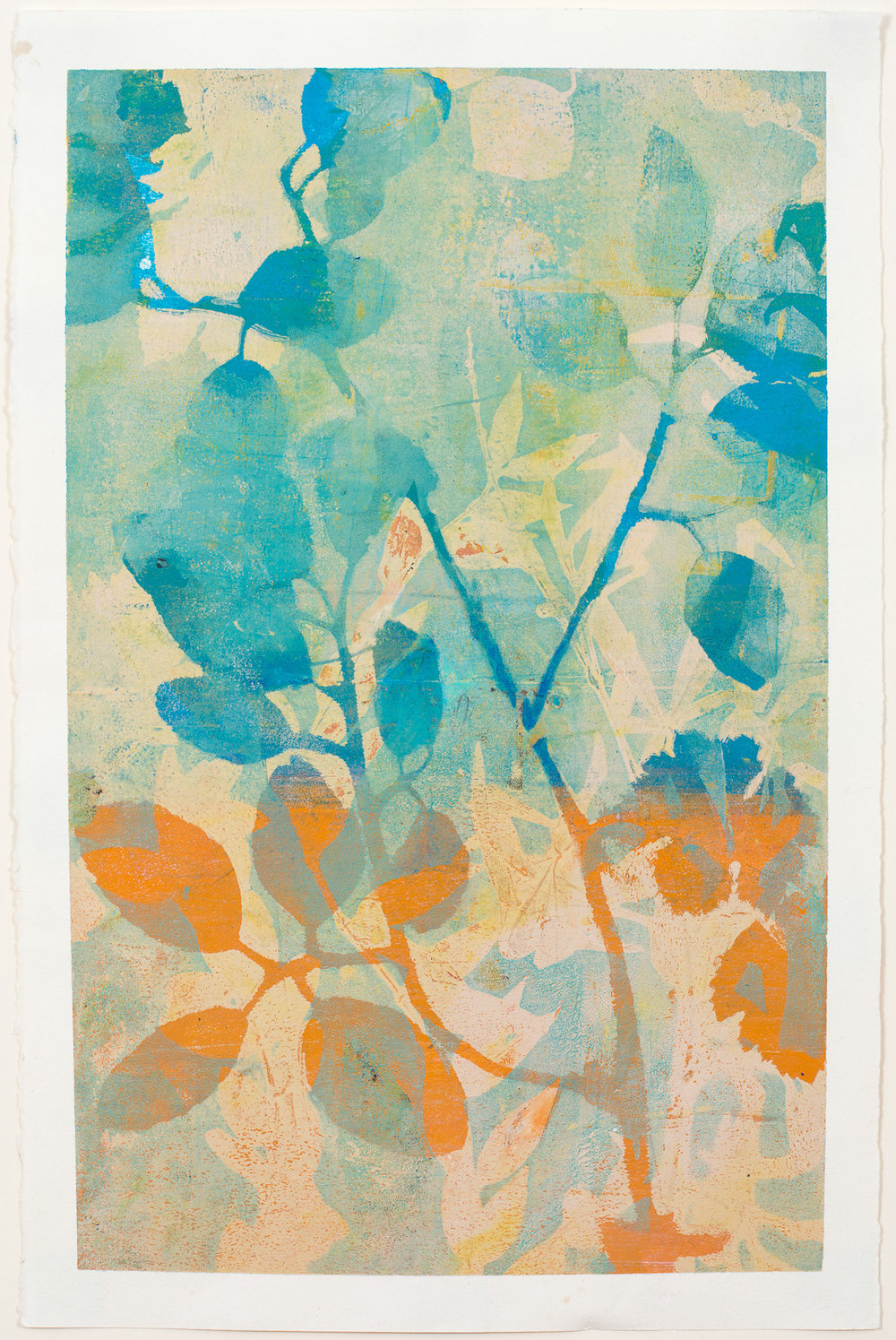 "Blue Branch, 13"" x 19,"" Monoprint"