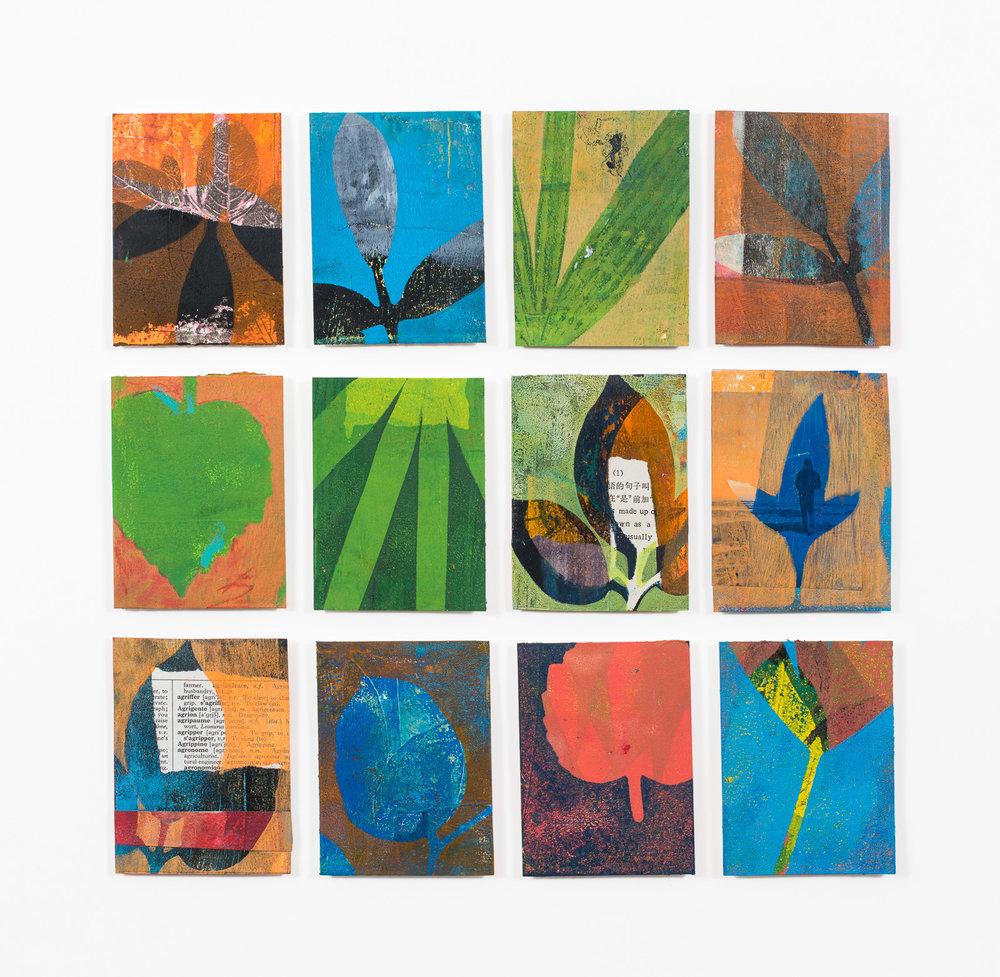 "Beach Time, 17.5"" x 17,"" Monoprint collage"
