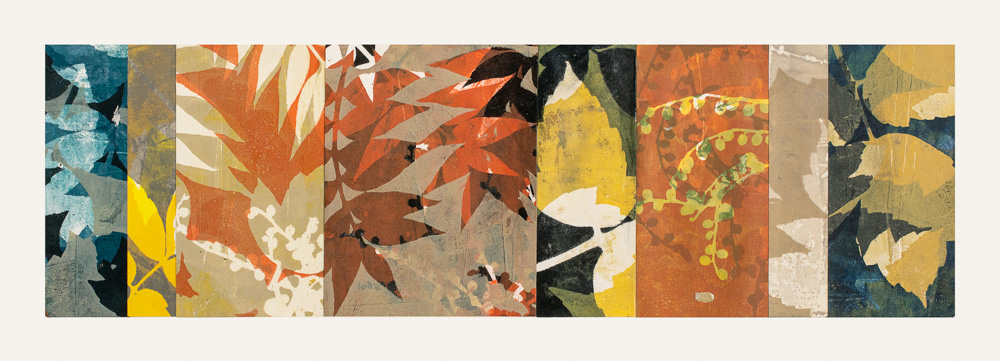 "Turning Point 7, 12"" x 30,"" Monoprint collage"