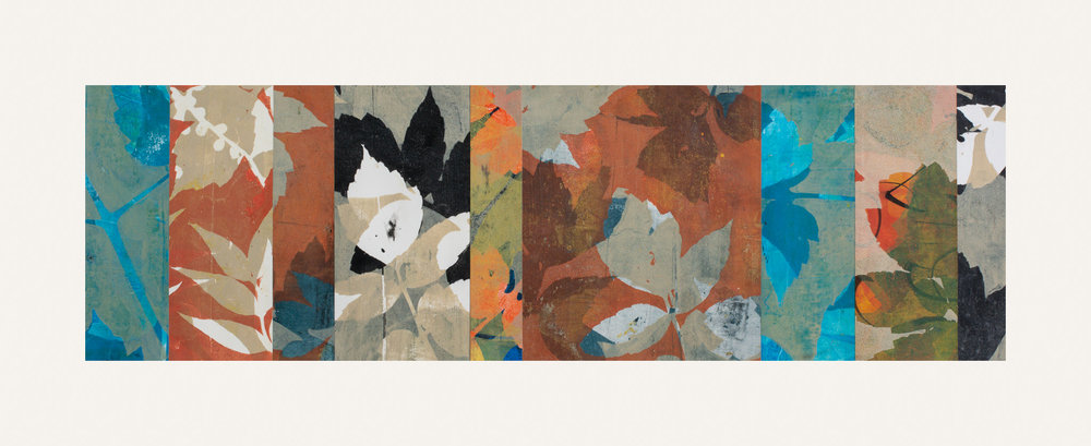 "Autumn Haze 1, 11"" x 30,"" Monoprint collage"