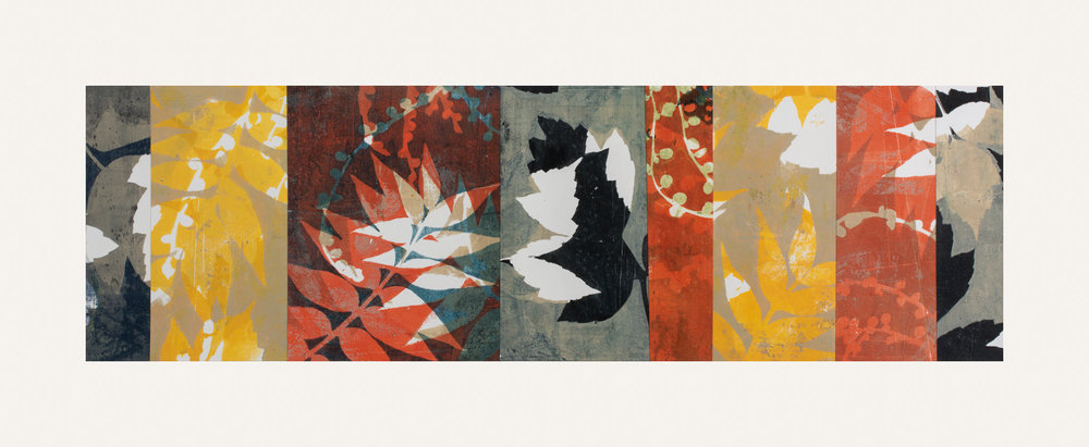 "Autumn Haze 2, 11"" x 30,"" Monoprint collage"