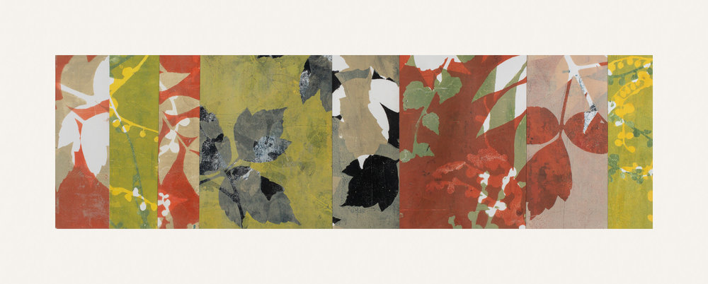 "Autumn Haze 3, 11"" x 30,"" Monoprint collage"